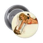 Vintage Pinup Girl Original Coloring 19 Pinback Buttons