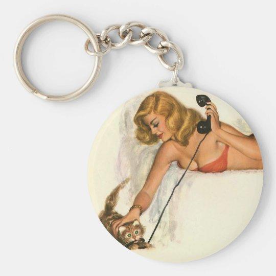 Vintage Pinup Girl Original Coloring 19 Keychain