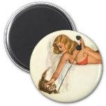 Vintage Pinup Girl Original Coloring 19 Refrigerator Magnets