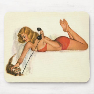 Vintage Pinup Girl Original Coloring 19 Mouse Pad