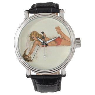 Vintage Pinup Girl Original Coloring 19 Wristwatch