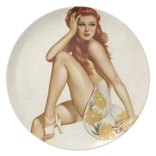 Vintage Pinup Girl Original Coloring 1 Dinner Plate