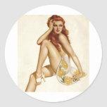 Vintage Pinup Girl Original Coloring 1 Stickers
