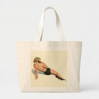 Vintage Pinup Girl Original Coloring 20 Large Tote Bag