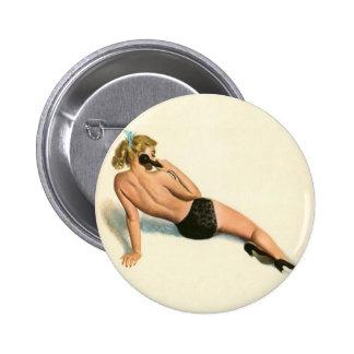 Vintage Pinup Girl Original Coloring 20 Pinback Button