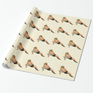 Vintage Pinup Girl Original Coloring 20 Wrapping Paper