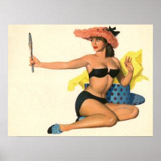 Vintage Pinup Girl Original Coloring 21 Poster