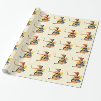 Vintage Pinup Girl Original Coloring 21 Wrapping Paper