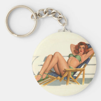 Vintage Pinup Girl Original Coloring 22 Basic Round Button Keychain