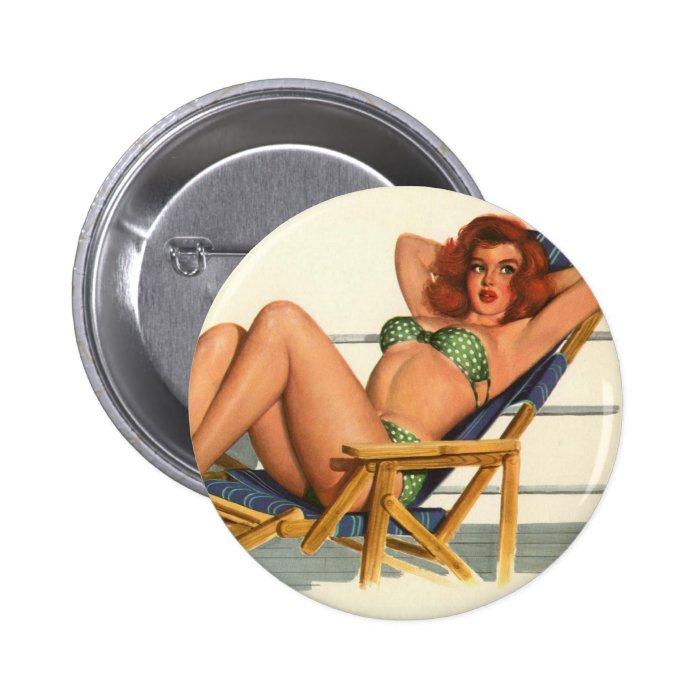 Vintage Pinup Girl Original Coloring 22 Button