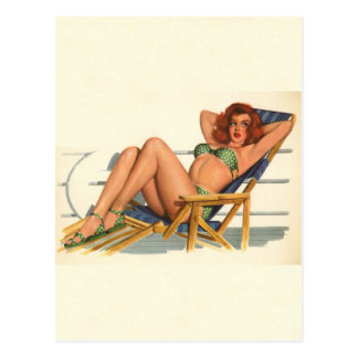 Vintage Pinup Girl Original Coloring 22 Postcard