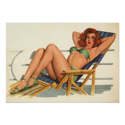 Vintage Pinup Girl Original Coloring 22 Print