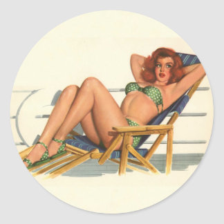Vintage Pinup Girl Original Coloring 22 Classic Round Sticker