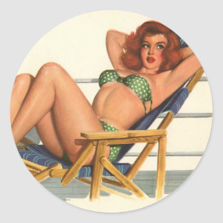 Vintage Pinup Girl Original Coloring 22 Stickers