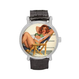 Vintage Pinup Girl Original Coloring 22 Wrist Watch