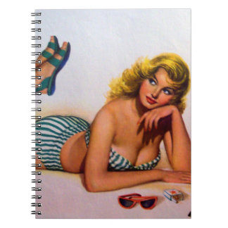 Vintage Pinup Girl Original Coloring 2 Note Book