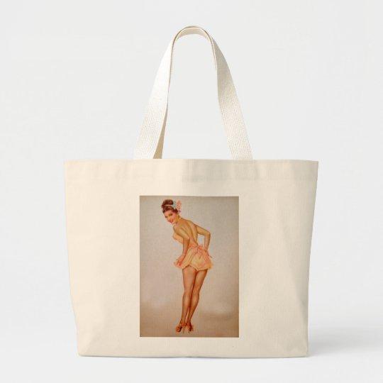 Vintage Pinup Girl Original Coloring 3 Large Tote Bag