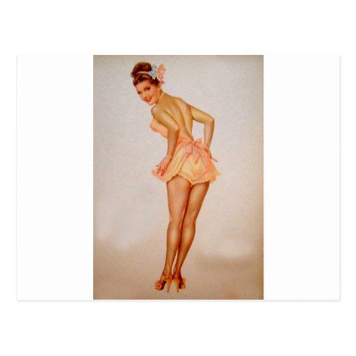 Vintage Pinup Girl Original Coloring 3 Postcard