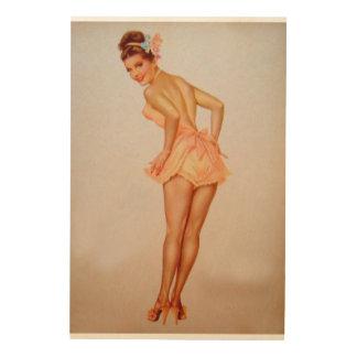 Vintage Pinup Girl Original Coloring 3 Wood Print