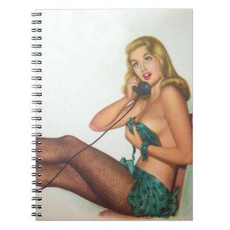 Vintage Pinup Girl Original Coloring 4 Notebooks