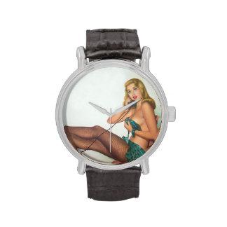 Vintage Pinup Girl Original Coloring 4 Wrist Watch