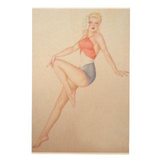 Vintage Pinup Girl Original Coloring 5 Wood Print