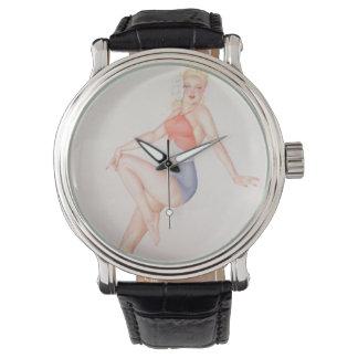Vintage Pinup Girl Original Coloring 5 Wrist Watch