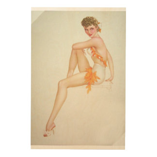 Vintage Pinup Girl Original Coloring 6 Wood Prints