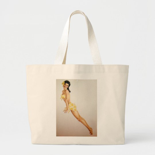 Vintage Pinup Girl Original Coloring 7 Large Tote Bag