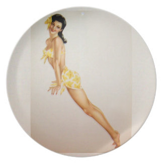 Vintage Pinup Girl Original Coloring 7 Party Plate