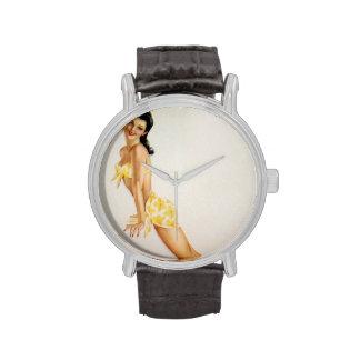 Vintage Pinup Girl Original Coloring 7 Wrist Watches