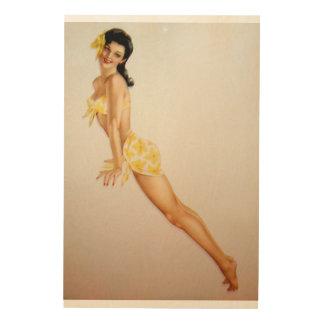 Vintage Pinup Girl Original Coloring 7 Wood Canvas