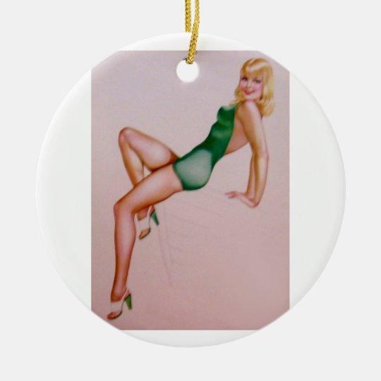 Vintage Pinup Girl Original Coloring 8 Ceramic Ornament