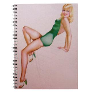 Vintage Pinup Girl Original Coloring 8 Spiral Notebook