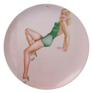 Vintage Pinup Girl Original Coloring 8 Party Plate