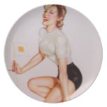 Vintage Pinup Girl Original Coloring 9 Party Plates