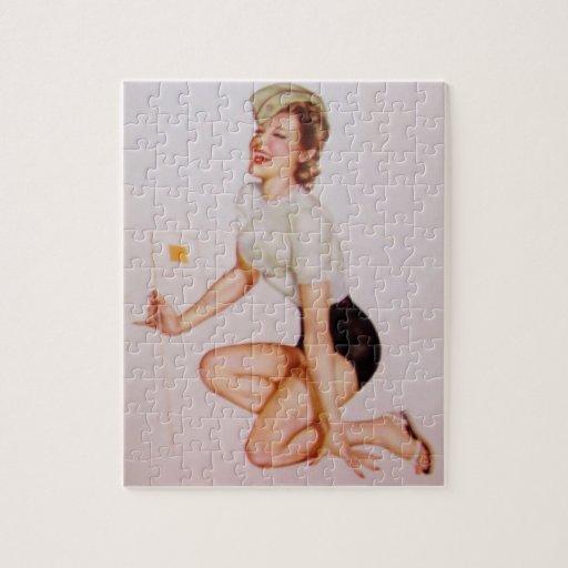 Vintage Pinup Girl Original Coloring 9 Jigsaw Puzzle
