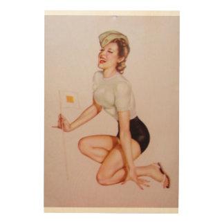 Vintage Pinup Girl Original Coloring 9 Wood Canvas