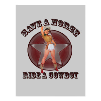 Vintage Pinup Girl Save a horse ride a cowboy Postcard