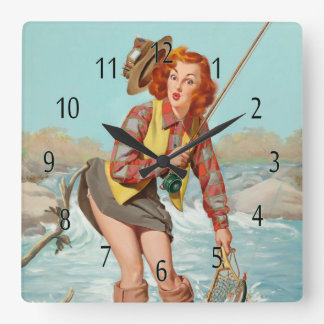 vintage pinup girl wall clock, gone fishing square wall clock