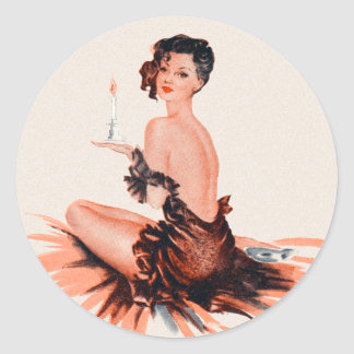 Vintage Pinup Pinup Parisian Candlelight Classic Round Sticker