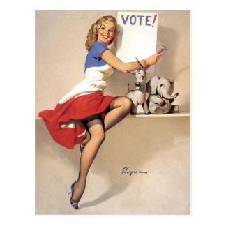 Vintage Pinup, Vote Postcard