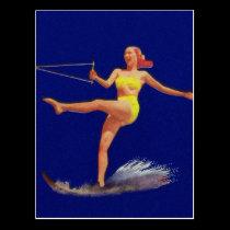 Vintage Pinup Water Skiing Girl Postcard