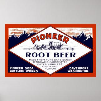 Vintage Pioneer Root Beer Soda Advertisement Poster