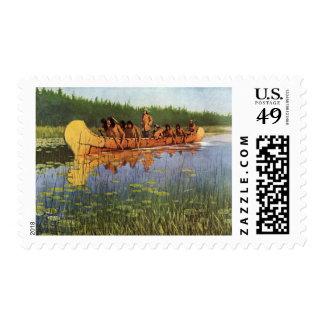 Vintage Pioneers, Great Explorers by Remington Postage Stamp