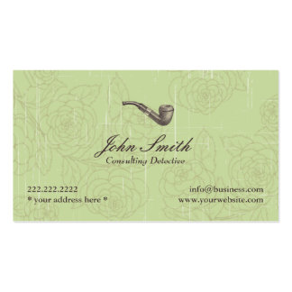 Vintage Pipe Detective Green Floral business card