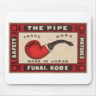 Vintage Pipe Matchbox Logo Mouse Pad