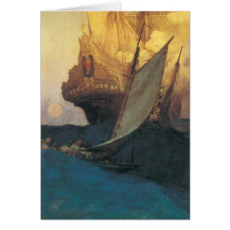 Vintage Pirate, Attack on a Galleon by Howard Pyle Card