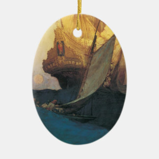 Vintage Pirate, Attack on a Galleon by Howard Pyle Ceramic Ornament