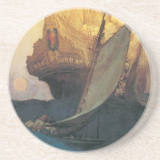 Vintage Pirate, Attack on a Galleon by Howard Pyle Coaster
